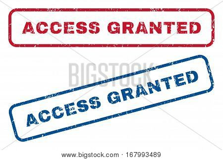Access Granted text rubber seal stamp watermarks. Vector style is blue and red ink tag inside rounded rectangular banner. Grunge design and scratched texture. Blue and red emblems.