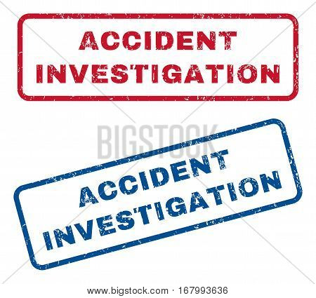 Accident Investigation text rubber seal stamp watermarks. Vector style is blue and red ink caption inside rounded rectangular shape. Grunge design and unclean texture. Blue and red emblems.