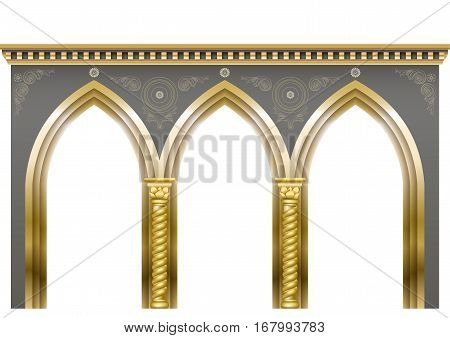 Palace gold Arcade in an old oriental style. Facade of a classical building. Vector graphics