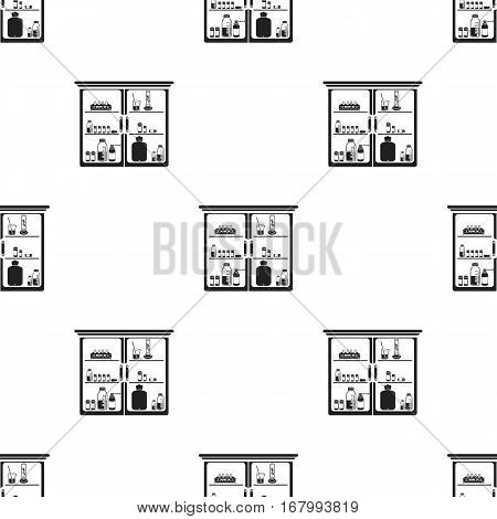 Cupboard with medicines icon in black style isolated on white background. Medicine and hospital pattern vector illustration.