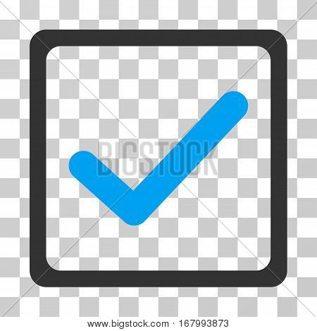 Checkbox icon. Vector illustration style is flat iconic bicolor symbol, blue and gray colors, transparent background. Designed for web and software interfaces.