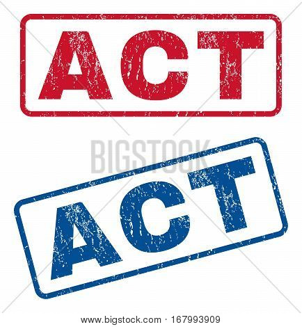 Act text rubber seal stamp watermarks. Vector style is blue and red ink caption inside rounded rectangular shape. Grunge design and dirty texture. Blue and red emblems.