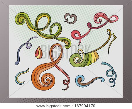 Swirls and Curls Hand-Drawn Sketchy Doodles Ornamental Flourish Set- Vector Illustration Design Elements on Lined Sketchbook Paper Background