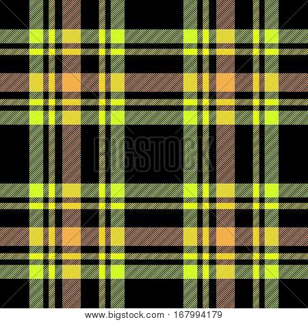 Black and yellow checkered striped tartan texture fabric seamless design