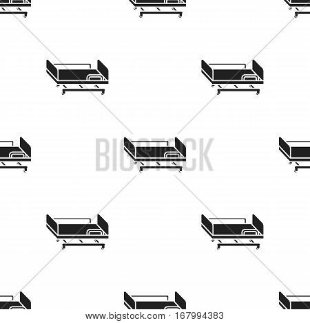 Hospital gurney icon in black style isolated on white background. Medicine and hospital pattern vector illustration.