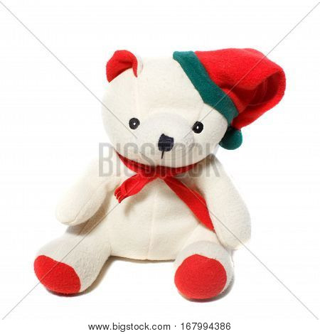 A white Christmas teddy bear on white background