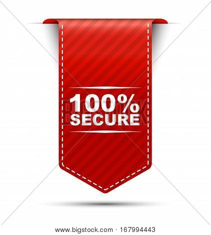 This is red vector banner design 100% secure
