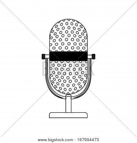 monochrome contour with desktop microphone vector illustration