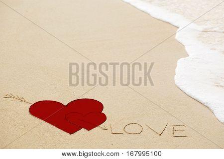 Inscription Of Love On Wet Yellow Beach Sand
