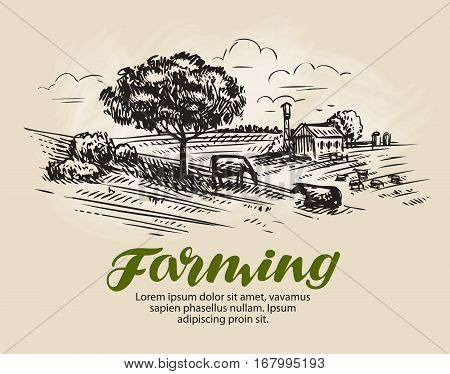 Farm sketch. Landscape, agriculture farming vector illustration