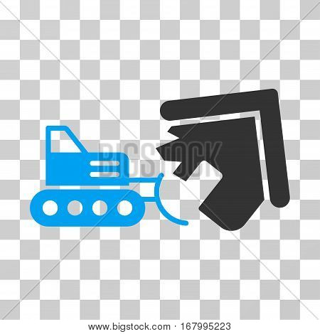 Demolition icon. Vector illustration style is flat iconic bicolor symbol, blue and gray colors, transparent background. Designed for web and software interfaces.