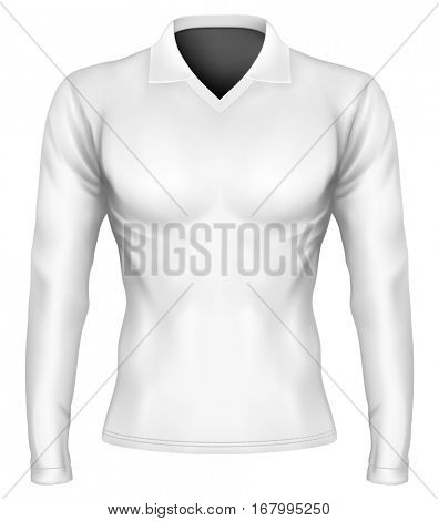 Polo shirt. Long-sleeve variants of polo-shirt. Vector illustration. Fully editable handmade mesh.