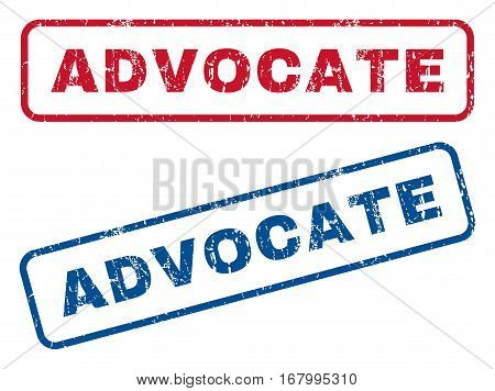 Advocate text rubber seal stamp watermarks. Vector style is blue and red ink caption inside rounded rectangular shape. Grunge design and unclean texture. Blue and red emblems.