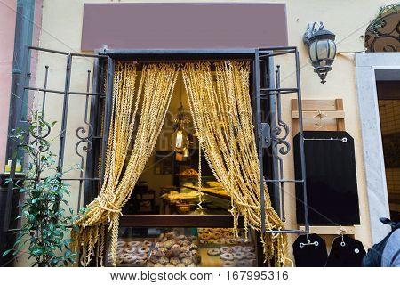 Curtains Made From Pasta In Portovenere In The Ligurian Region Of Italy