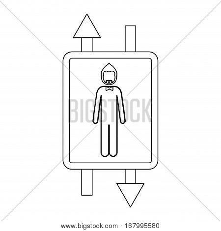 monochrome contour with double sign arrow with man with beard and bow tie vector illustration