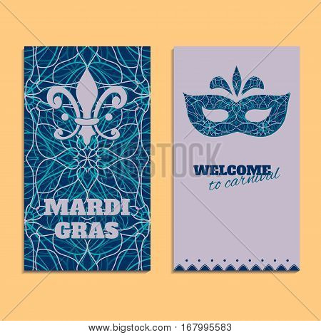 Vector invitation card template to Fat Tuesday. Mardi Gras carnival welcome. Congratulation's backgrounds with oriental pattern, mask and text