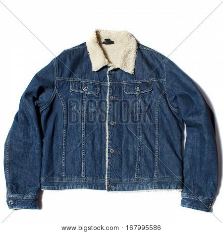 A jean jacket with wool inside on white background