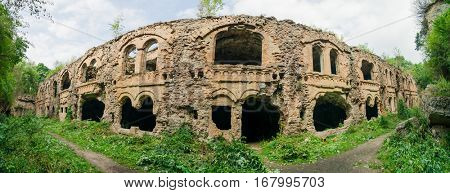 Panoramic view of ruins of old Tarakaniv Fort, Rivne, Ukraine.