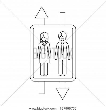 monochrome contour with double sign arrow with man with mustache and woman with short hair vector illustration
