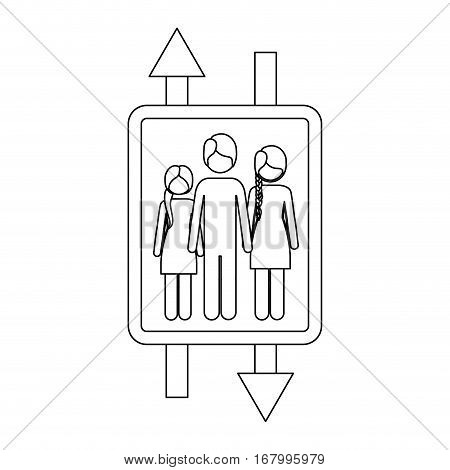 monochrome contour with double sign arrow with man and woman with braided hair and girl vector illustration