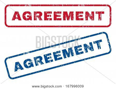 Agreement text rubber seal stamp watermarks. Vector style is blue and red ink tag inside rounded rectangular banner. Grunge design and unclean texture. Blue and red emblems.