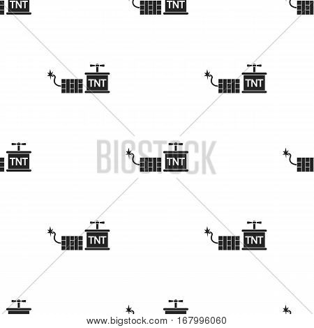 Dynamite icon in black style isolated on white background. Mine pattern vector illustration.