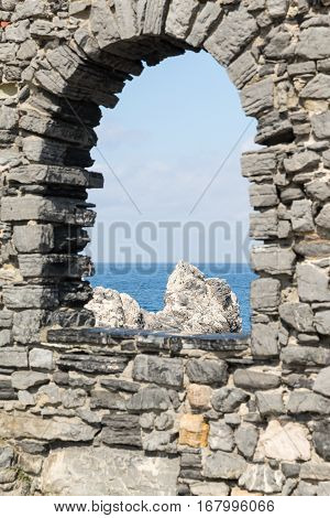 Ancient Arch Window In Portovenere In The Ligurian Region Of Italy