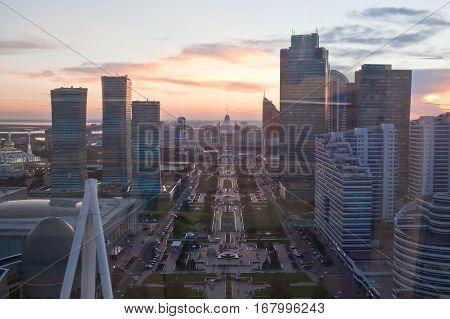 View from the aerial view on the boulevard Nurzhol in the evening. Astana. Kazakhstan