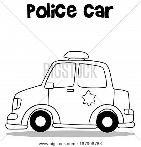 Hand draw of police car vector collection stock