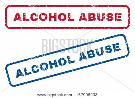 Alcohol Abuse text rubber seal stamp watermarks. Vector style is blue and red ink caption inside rounded rectangular shape. Grunge design and dirty texture. Blue and red signs.