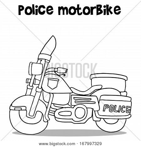 Police motor vector art illustration with hand draw