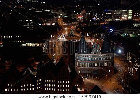 Aerial view of Lübeck Germany at night