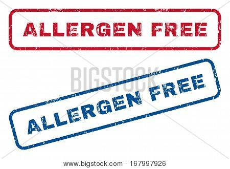 Allergen Free text rubber seal stamp watermarks. Vector style is blue and red ink tag inside rounded rectangular banner. Grunge design and dust texture. Blue and red emblems.
