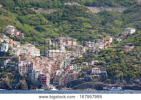 The Village Of Riomaggiore Of The Cinque Terre