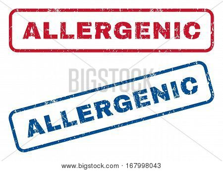 Allergenic text rubber seal stamp watermarks. Vector style is blue and red ink tag inside rounded rectangular shape. Grunge design and dirty texture. Blue and red emblems.
