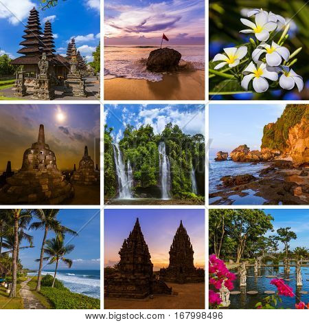Collage of Bali Indonesia travel images (my photos) - nature and architecture background
