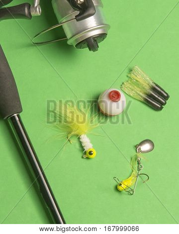 Fishing tackle and lure with a reel and rod