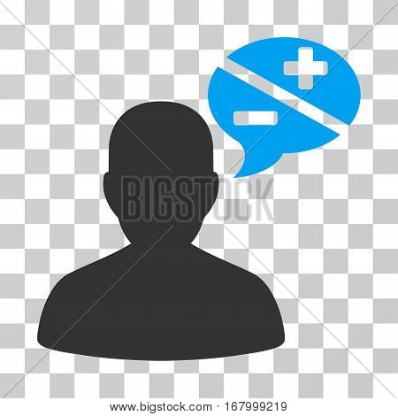 Person Arguments icon. Vector illustration style is flat iconic bicolor symbol, blue and gray colors, transparent background. Designed for web and software interfaces.