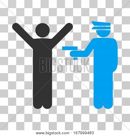 Police Arrest icon. Vector illustration style is flat iconic bicolor symbol, blue and gray colors, transparent background. Designed for web and software interfaces.