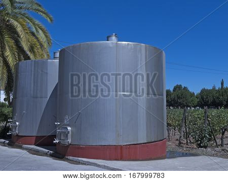 Wine Metallic Fermentation Tanks. Chile
