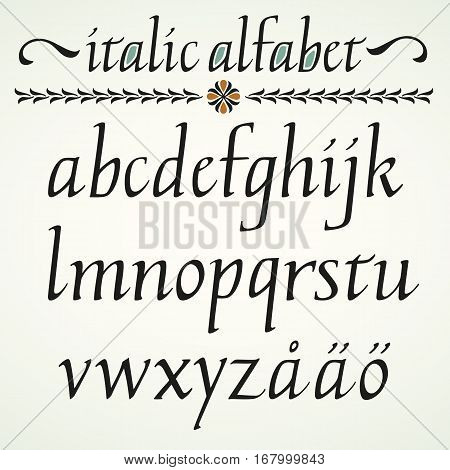 Italics Calligraphy Small Letters with Decorative Border