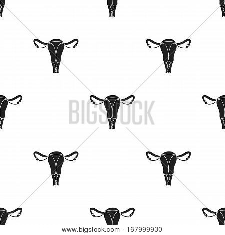 Uterus icon in black style isolated on white background. Organs pattern vector illustration.