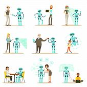 Smiling People And Robot Assistant, Set Of Characters And Service Android Companion. Futuristic Technologies And Technological Progress Vector Illustrations poster