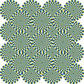 That is a fascinating optical illusion - the concentrical circles are moving somehow. poster