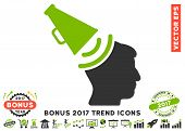 Eco Green And Gray Propaganda Megaphone icon with bonus 2017 trend pictograph collection. Vector illustration style is flat iconic bicolor symbols, white background. poster