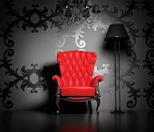 3D interior scene with classic armchair and lamp. poster