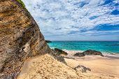 Landscape of Ocean rock and beach in Horseshoe Bay Southampton Parish Bermuda poster