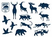 Hunting animals silhouette icons. Stag and deer, capra or mountain goat, reindeer with antler and wapiti, cervus and wild boar, rhino or rhinoceros, panther and american grizzly bear, duck bird. Hunting for mammals at safari and savanna, forest theme poster