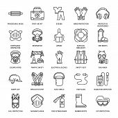 Personal protective equipment line icons. Gas mask, ring buoy, respirator, bump cap, ear plugs and safety work garment. Health protection thin linear signs. poster