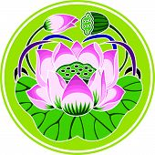 Chinese Blossum in Chinese Drawing Style (vector) poster